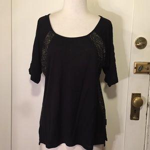 Calvin Klein jeans scoopneck black patterned top